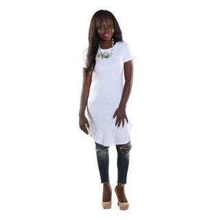 Hadari Women's High Round Neckline Short sleeve Knee High Shift White Dress