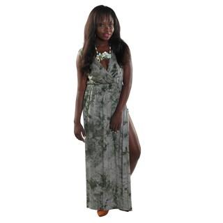 Hadari Women's Side Slit V-Neck Sleeveless Green Maxi Dress