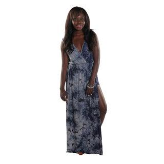 Hadari Women's Side Slit V-Neck Sleeveless Blue Maxi Dress