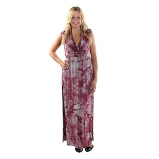 Hadari Women's Side Slit V-Neck Sleeveless Red Maxi Dress