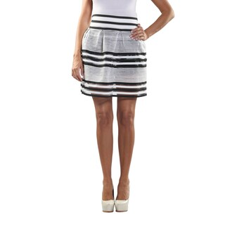 Hadari Women's Elastic Waistline laced Inset Patterned Black and White Medi Skirt