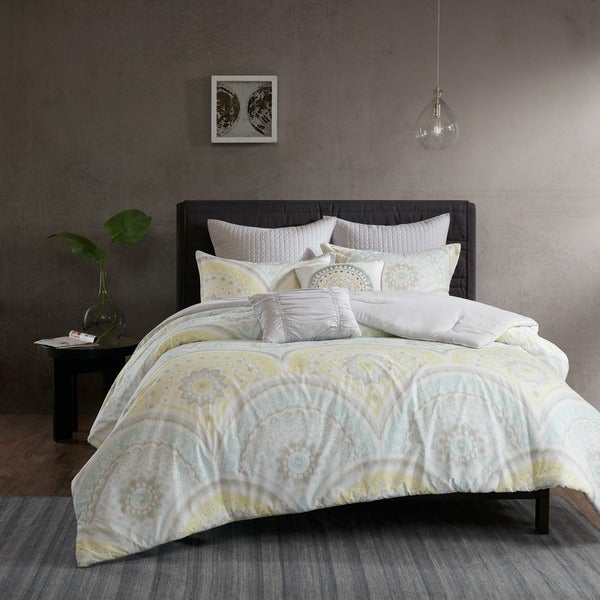 Urban Habitat Nicolette Yellow Cotton Printed 7-piece Duvet Cover Set