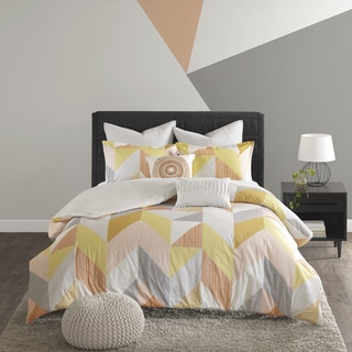 Urban Habitat Parker Cotton Printed Orange 7-piece Duvet Cover Set
