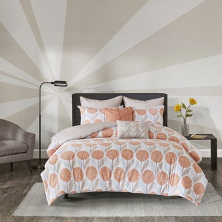 Urban Habitat Stella Coral Cotton 7-piece Printed Duvet Cover Set