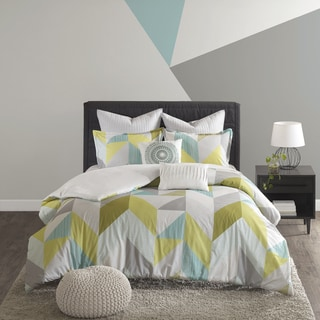 Urban Habitat Parker Aqua Cotton Printed 7-piece Duvet Cover Set - Thumbnail 0