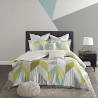 Urban Habitat Parker Aqua Cotton Printed 7-piece Duvet Cover Set