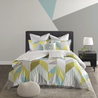 Urban Habitat Parker Aqua Cotton Printed 7-piece Duvet Cover Set (2 options available)