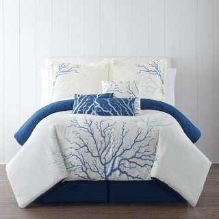 Panama Jack Coral Blue Embroidered 7-piece Comforter Set