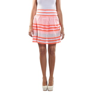 Hadari Women's Elastic Waistline laced Inset Patterned Orange and White Medi Skirt