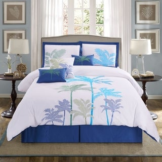 Panama Jack Breezy Palms Embroidered 7-piece Comforter Set