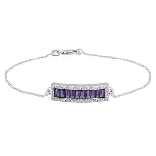 Sterling Silver Baguette Amethyst and White Topaz Fashion Bracelets