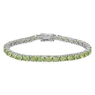 Sterling Silver Oval Peridot Tennis Bracelets