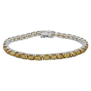 AALILLY Sterling Silver Oval Citrine Tennis Bracelets