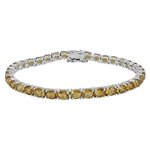AALILLY Sterling Silver Oval Citrine Tennis Bracelets. Opens flyout.