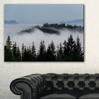 Dark Trees and Fog Over Mountains - Landscape Art Print Canvas