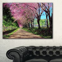 Cherry Blossom Pathway in Chiang Mai - Landscape Art Print Canvas