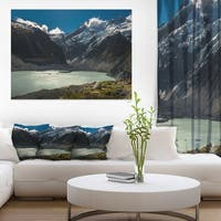 Frosty Mountains Over Blue Lake - Landscape Art Print Canvas