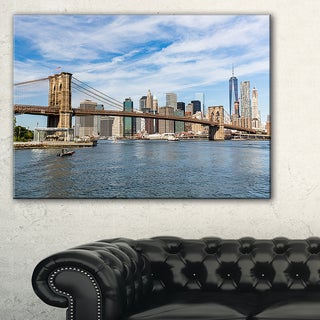Summer Day Brooklyn Bridge  - Cityscape Canvas print - Blue