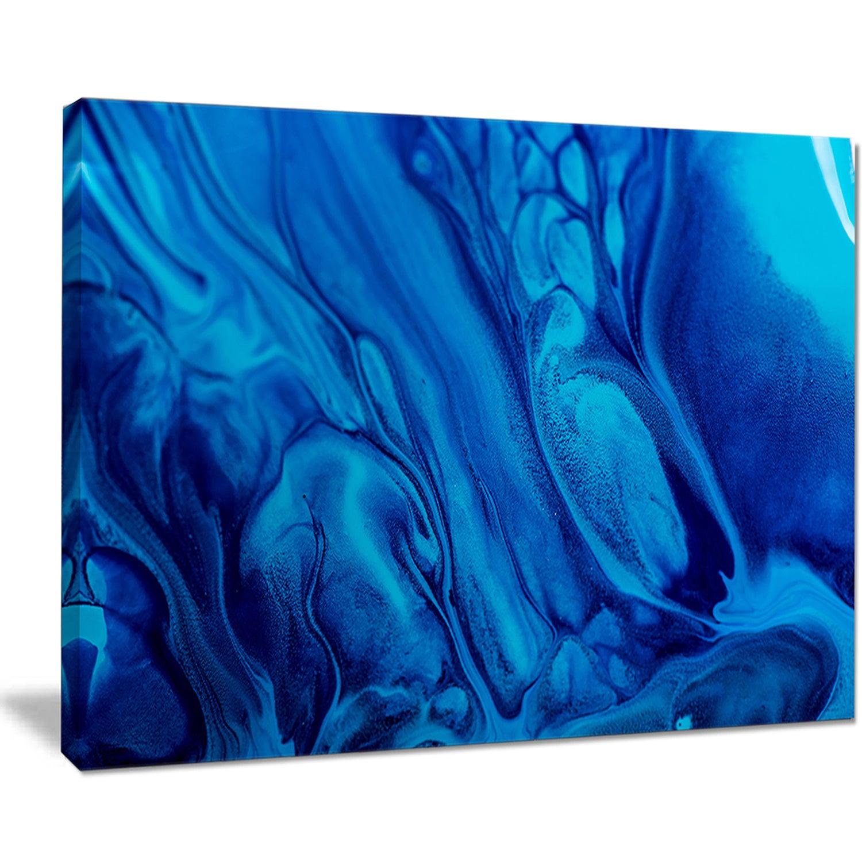 Dark Blue Abstract Acrylic Paint Mix Abstract Art On Canvas Multi