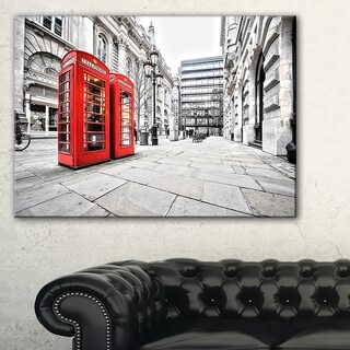 Phone Booths on Street - Cityscape Canvas print - Red