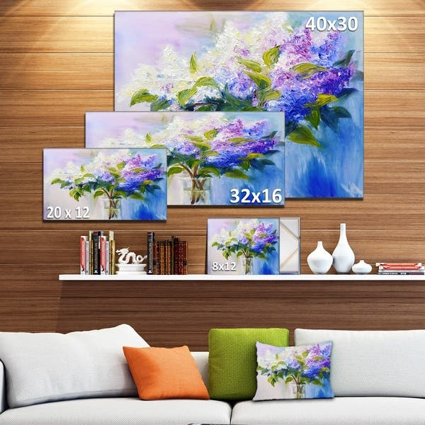 Blue And White Lilacs In Vase Floral Canvas Art Print Green Overstock 12209552