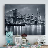 Panorama New York City at Night - Cityscape Canvas print - Blue
