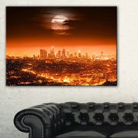 Dramatic Full Moon over Los Angeles  - Cityscape Canvas print - Red