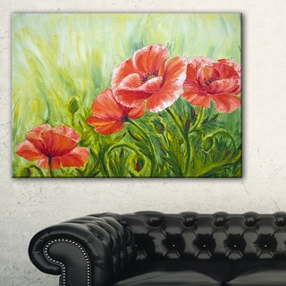 Blooming Poppies with Green Leaves - Large Floral Wall Art Canvas