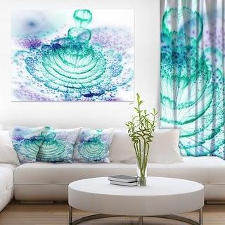 Glossy Light Blue Fractal Flower - Large Floral Wall Art Canvas