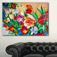 Bouquet of Colorful Flowers - Large Floral Wall Art Canvas