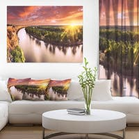 Sunset over Murray River Panorama - Extra Large Wall Art Landscape - Green