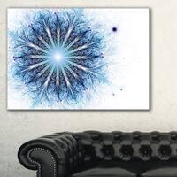 Fractal Flower Light Blue Digital Art - Large Flower Canvas Wall Art