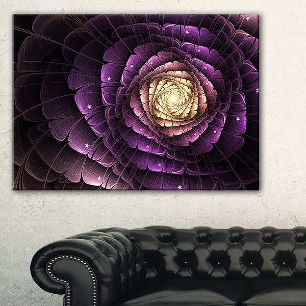 Fractal Flower Light Purple Digital Art - Large Flower Canvas Wall Art
