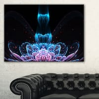 Fractal Flower Blue Purple Digital Art - Large Floral Canvas Art Print