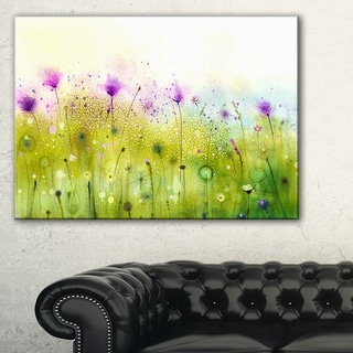 Green Purple Abstract Cosmos of Flowers - Large Flower Canvas Wall Art