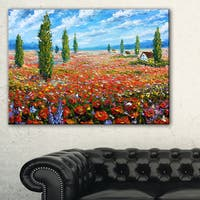 Red Poppies Field Watercolor - Large Flower Canvas Wall Art - White