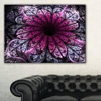 Dark Purple Fractal Flower Digital Art - Large Floral Canvas Art Print