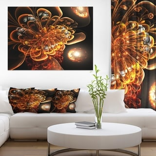 Dark Orange Fractal Flower Digital Art - Large Floral Canvas Art Print