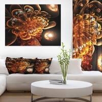 Dark Orange Fractal Flower Digital Art - Large Floral Canvas Art Print - GOLD