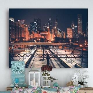 Dark Chicago Skyline and Railroad  - Cityscape Canvas print - Multi-color
