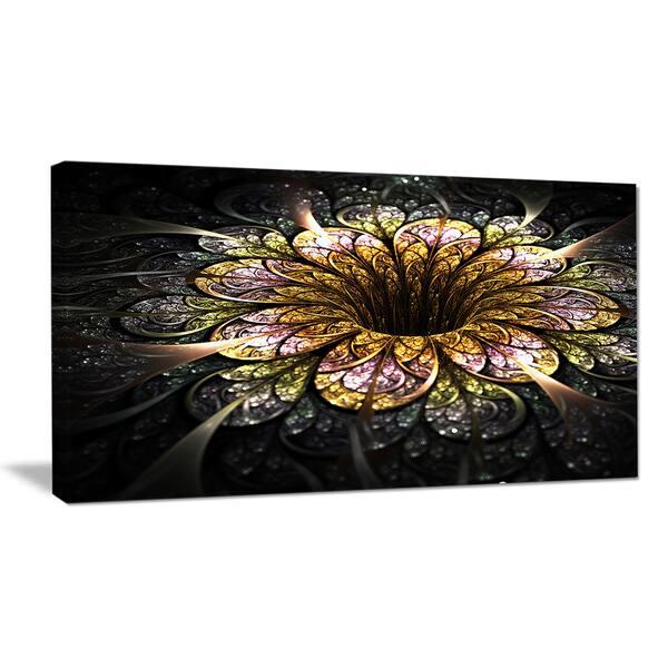 Dark Golden Fractal Flower Digital Art Large Floral Canvas Art Print Gold Overstock 12209681