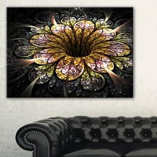 Dark Golden Fractal Flower Digital Art - Large Floral Canvas Art Print