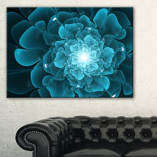 Fractal Flower Clear Blue Digital Art - Large Floral Canvas Art Print