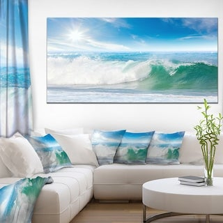 White and Blue Waves under Sun - Seashore Canvas Wall Artwork