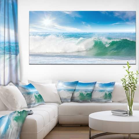 White and Blue Waves under Sun - Seashore Canvas Wall Artwork Print