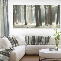 Maritime Pine Tree Forest with Rays - Oversized Forest Canvas Art - Blue