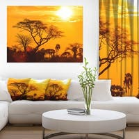 Orange Glow of African Sunset - Extra Large Wall Art Landscape - GOLD