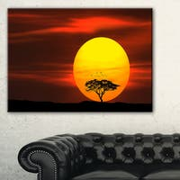 Lonely Tree with Birds at Sunset - Extra Large Wall Art Landscape - Multi-color