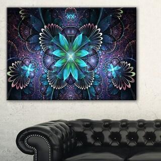Fractal Flower Blue Digital Art - Large Flower Canvas Wall Art