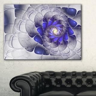 Fractal Flower Grey Blue Digital Art - Large Floral Canvas Art Print